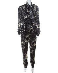 Lanvin Black & White Printed Neck Bow Detail Elastic Waist Jumpsuit
