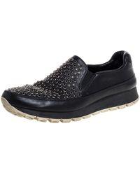 Prada Black Leather Studded Slip On Trainers