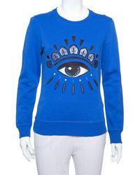 KENZO Navy Blue Cotton Eye Embroidered Sweatshirt