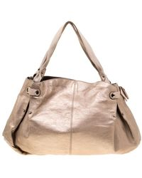 Ferragamo Beige Leather And Canvas Bow Hobo - Natural