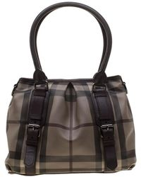 Burberry Brown Smoked Check Pvc And Leather Lowry Tote