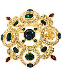 Dior Vintage Multicolour Crystal Gold Tone Pin Brooch - Metallic