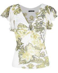 80a7b8e0265d Roberto Cavalli - White Floral Printed Ruffle Sleeve Detail Top S - Lyst