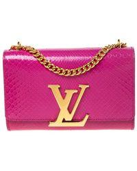 Louis Vuitton Fuchsia Pink Python Chain Louise Mm Bag