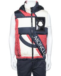 Moncler Tricolor Synthetic Down Filled Sleeveless Hooded Puffer Gilet - Multicolour