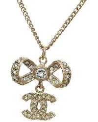Chanel - Cc Bow Rhinestone Tone Pendant Necklace - Lyst