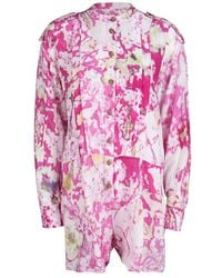 Vivienne Westwood Anglomania Multicolour Watercolor Print Long Sleeve Playsuit - Pink