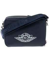 Dior X Jordan Navy Blue Leather Wings Messenger Bag