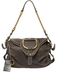 Dolce & Gabbana Dark Brown Pebbled Leather D Ring Flap Hobo
