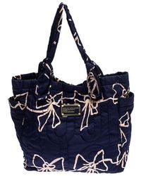 Marc By Marc Jacobs Navy Blue/pink Printed Bow Nylon Tate Tote
