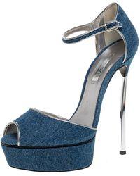 Casadei Blue Denim Peep Toe Ankle Strap Platform Blade Heel Sandals
