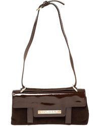BVLGARI Mocha Brown Corduroy And Patent Leather Logo Flap Top Handle Bag
