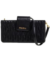 Miu Miu Black Matelasse Leather Crossbody Bag