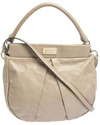 Marc By Marc Jacobs Beige Leather Classic Q Hillier Hobo - Natural