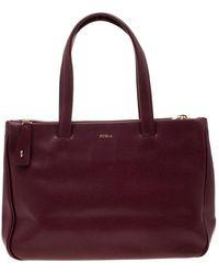 Furla Burgundy Leather Tote - Multicolour