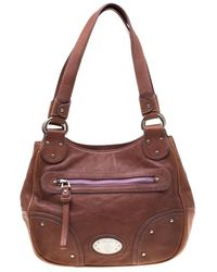 Bally Tan Leather Zippered Pocket Hobo - Multicolor