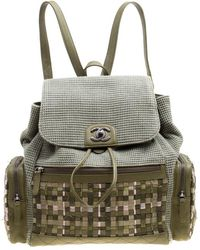 Chanel - Khaki Women Canvas And Leather Cuba Pocket Backpack - Lyst