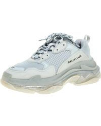 Balenciaga Pearl Grey Mesh And Leather Triple S Low Top Sneakers