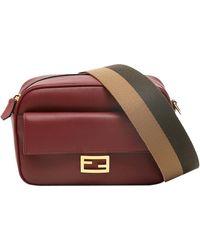 Fendi Burgundy Leather Baguette Camera Bag - Multicolor