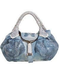 Fendi Light Blue Denim Embroidered Squirrel Limited Edition Spy Bag