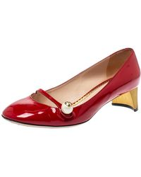 Gucci Red Patent Leather Mary Jane Court Shoes