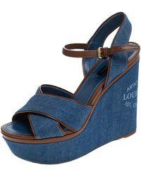 Louis Vuitton Blue/brown Criss Cross Denim Ankle Strap Platform Wedge Sandals Size 39