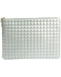 Celine Silver Quilted Leather C Charm Clutch Bag - Metallic