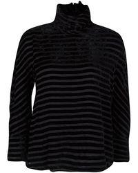 Giorgio Armani Black Striped Velvet High Neck Long Sleeve Blouse