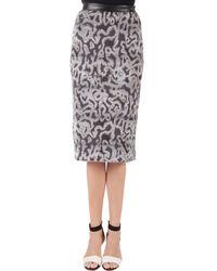 Missoni Gray Jacquard Knit Midi Pencil Skirt