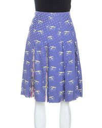 Louis Vuitton Purple Printed Polka Dot Silk Pleated Skirt