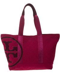 Tory Burch Fuchsia Nylon Marion Shopper Tote - Pink