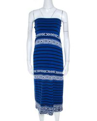 Emilio Pucci Blue Knit Aztec Pattern Strapless Dress