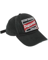 DSquared² Black Logo Embroidered Distressed Baseball Cap ( One