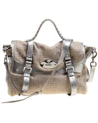 Mulberry Sparkle Grey Woven Fabric Alexa Top Handle Shoulder Bag - Metallic
