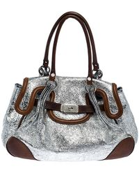 Moschino Metallic Silver Foil Leather Flap Satchel