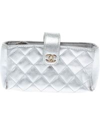 Chanel Metallic Silver Quilted Leather Cc Phone Holder Pouch