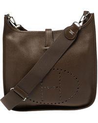 Hermès Cacao Togo Leather Evelyne Iii Gm Bag - Brown