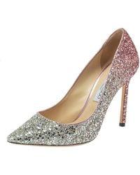Jimmy Choo Two Tone Metallic Glitter Romy 100 Pointed Toe Court Shoes
