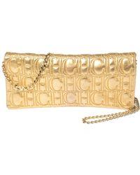 Carolina Herrera Gold Monogram Leather Jerry Chain Clutch - Metallic