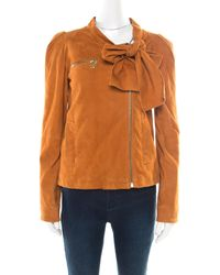 Mulberry Tan Brown Suede Floppy Bow Detail Biker Jacket