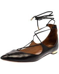 Aquazzura Black Leather Christy Flat Sandals