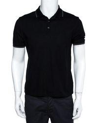 Louis Vuitton Black Cotton Pique Damier Detail Polo T-shirt