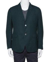Gucci Dark Green Wool Button Front Blazer