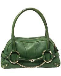 Gucci Green Leather Large Horsebit Chain Satchel