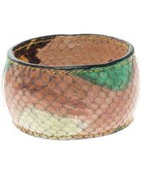 Etro - Printed Leather Wide Bangle Bracelet 20cm - Lyst