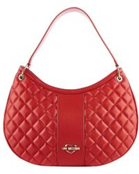 Moschino Love Red Quilted Faux Leather Hobo