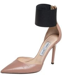 Jimmy Choo - Beige/black Leather And Fabric Trinny Ankle Cuff Pumps - Lyst