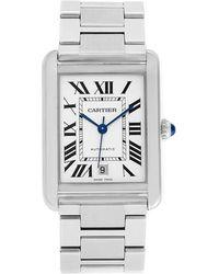 Cartier Silver And Stainless Steel Tank Solo W5200028 Men's Wristwatch 31.0 X 40.85mm - Metallic