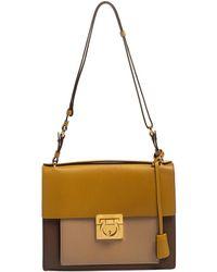 Ferragamo Tri Colour Leather Marisol Top Handle Bag - Multicolour
