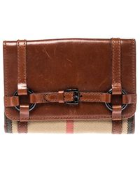 Burberry - Brown/beige House Check Canvas And Leather Flap Compact Wallet - Lyst